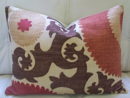 Decoratve Designer Lumbar Pillow Cover 12X16 - Suzani Pattern - Brick Red, Taupe and Brown  on a Textured Linen Background