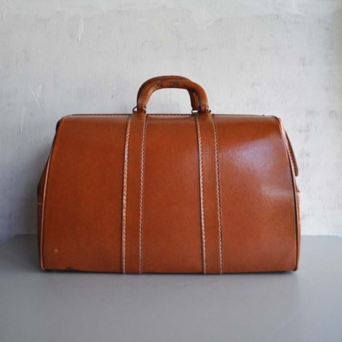 Vintage RUST BROWN Large Doctor Bag