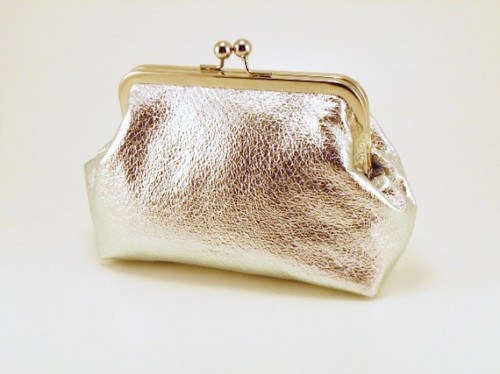 Silver Crinkle and Raspberry Clutch Purse Bag
