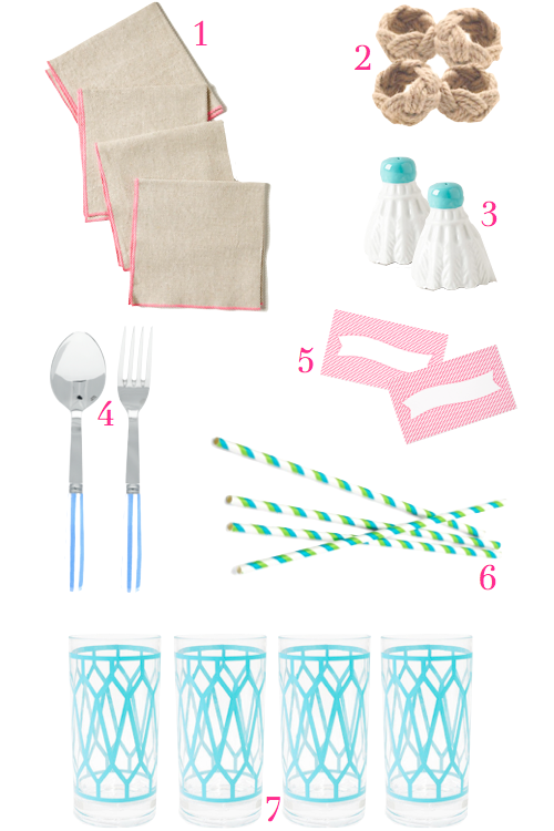rope napkin rings striped straws sugar paper place cards jonathan adler positano glasses neon trim