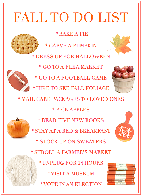 fall to do list / bucket list
