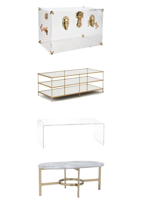 acrylic and marble coffee table options