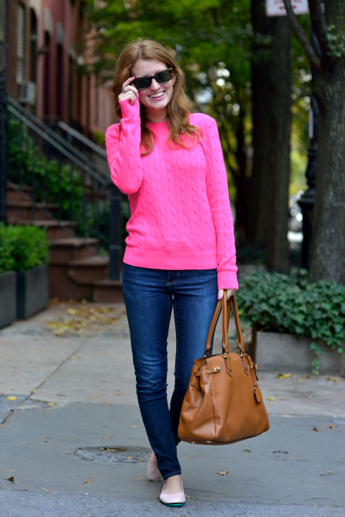 hot pink cashmere sweater