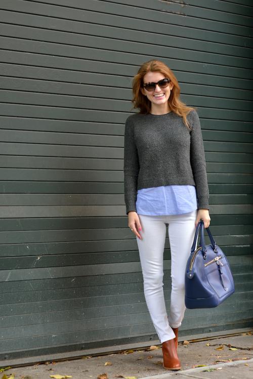 jcrew shirttail sweater gray blue