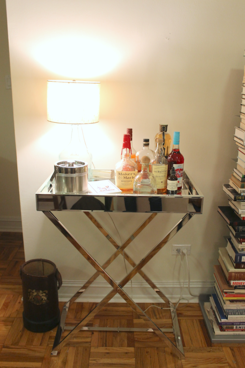 west elm mirrored bar cart tray table