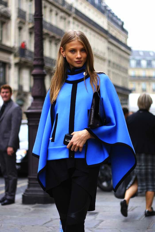 chloe blue cape coat
