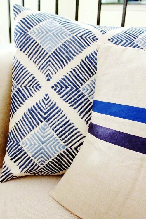 cobalt navy racing stripe pillow