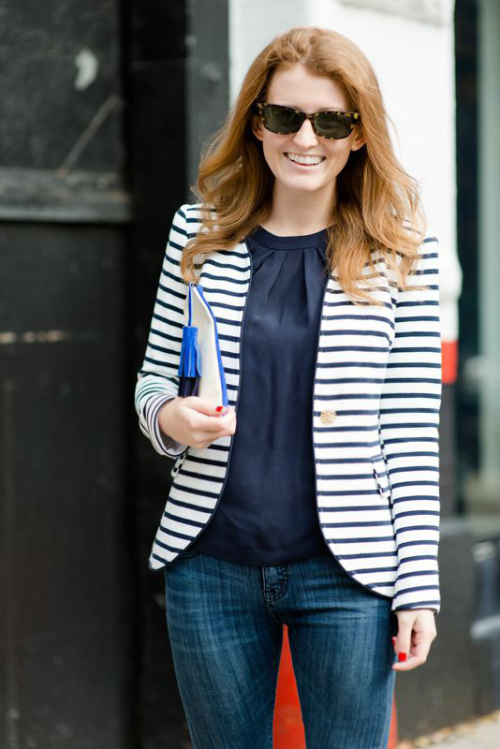 navy white striped blazer