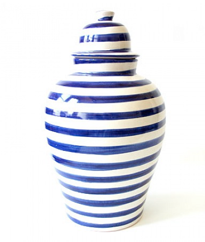 blue striped ginger jar