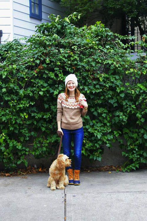 fair isle sweater ll bean boots