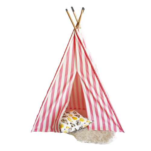 Teepee_Pink_Stripe_with_pillows