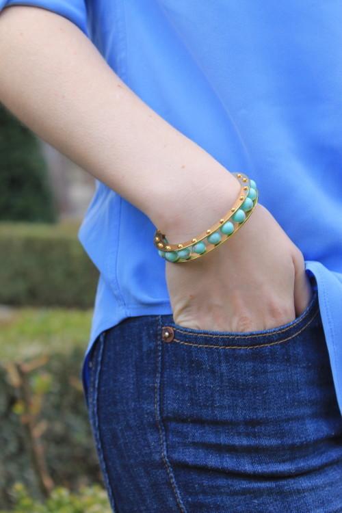 lele sadoughi turquoise slider cuff