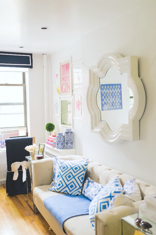 design darling apartment tour quatrefoil mirror