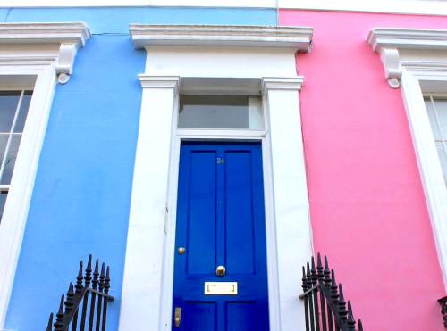 notting hill london bright houses cobalt blue door