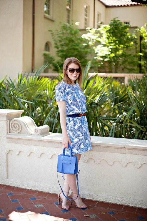 blue palm print dress