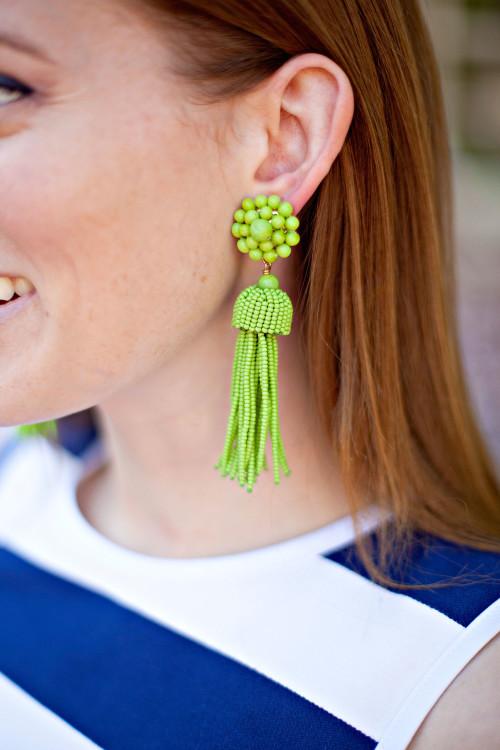 design darling green tassel earrings
