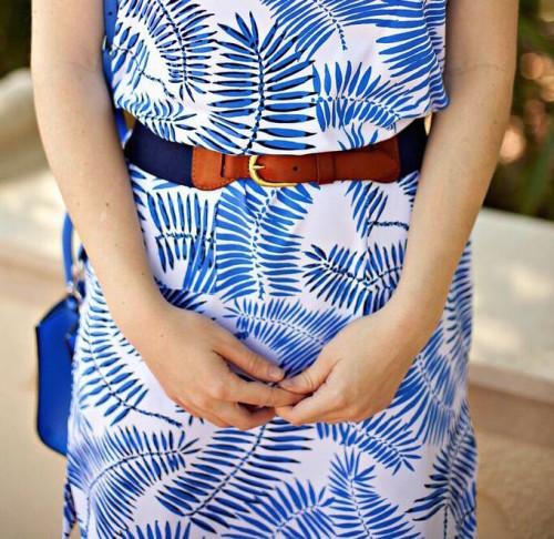 persifor blue palm print shift dress