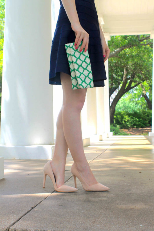 navy dress green clutch nude heels-2