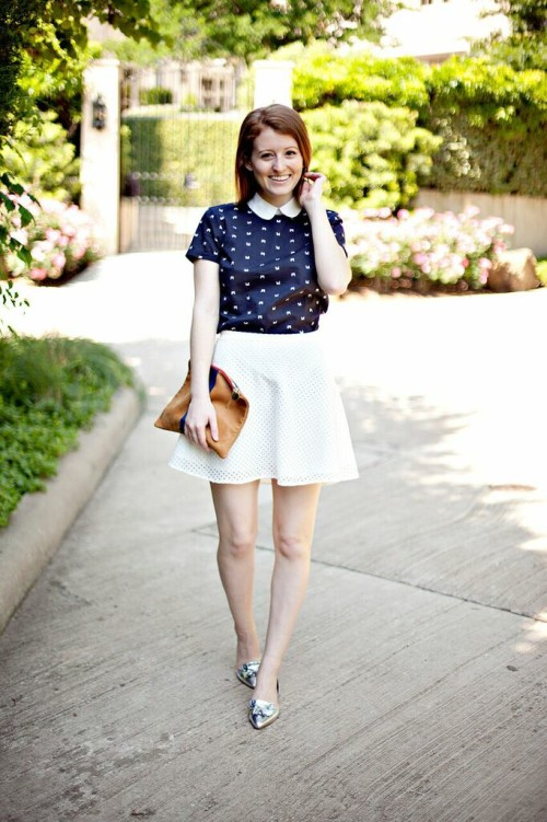 peter pan collar shirt eyelet skirt