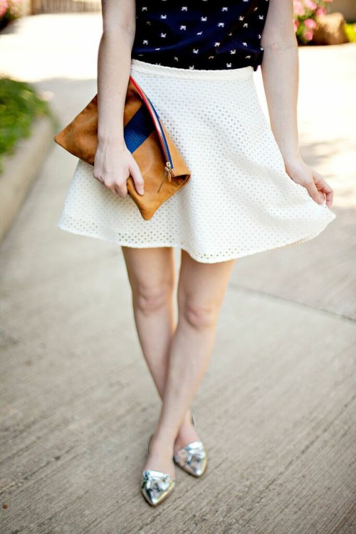 preppy white skirt