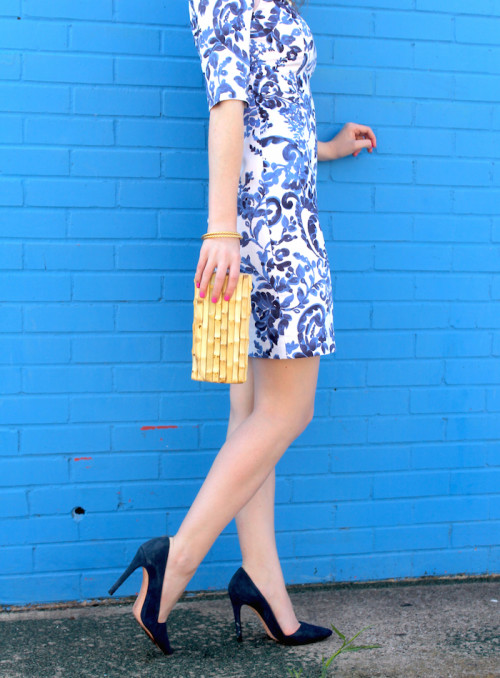 rent the runway milly blue and white dress