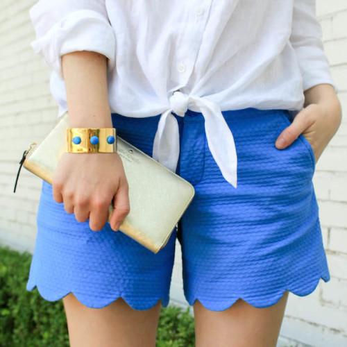 blue scalloped shorts