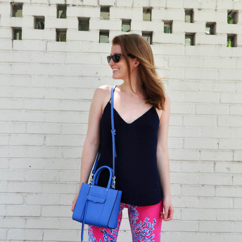 lilly pants j.crew tank rebecca minkoff crossbody bag