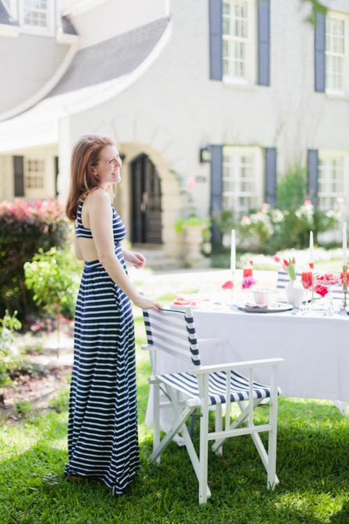 rachel pally striped cutout maxi dress