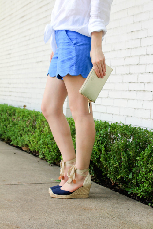 scalloped shorts and wedge espadrilles