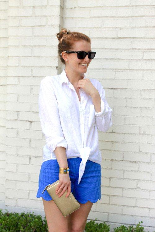 tie front shirt and scalloped shorts