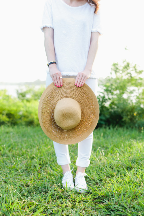 all white outfit straw j.crew sun hat