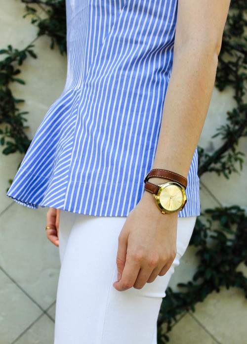 j.crew blue white stripe peplum top-2