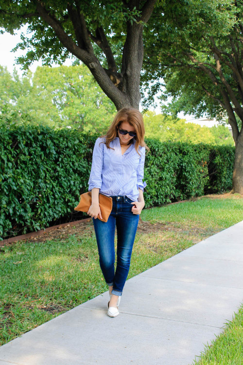 j.crew striped button down and skinny jeans