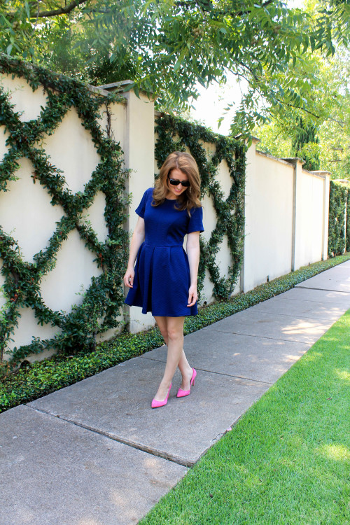 navy fit and flare dress pink heels