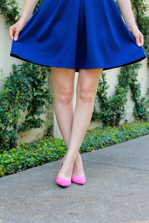 navy skirt and hot pink heels