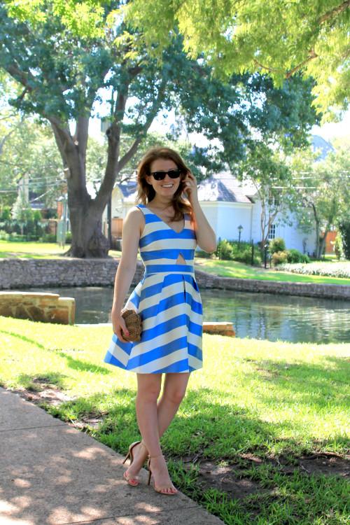 topshop stripe v neck cutout dress nordstrom
