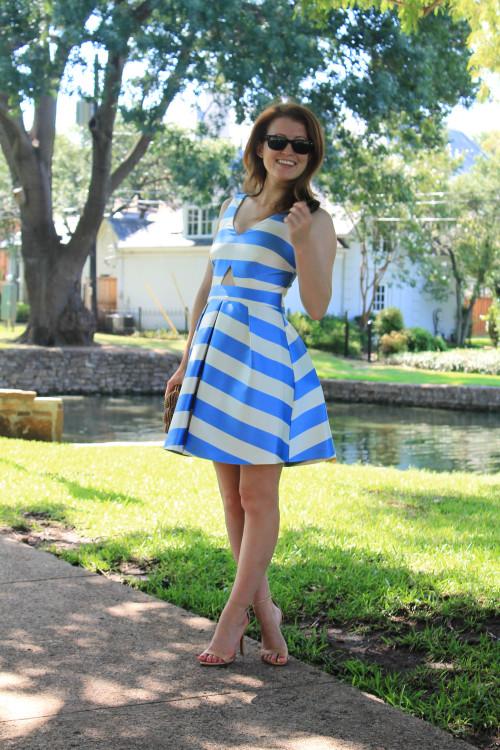 topshop v neck stripe cutout dress
