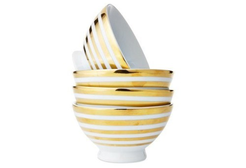gold striped bowls