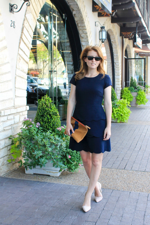 club monaco navy scalloped dress