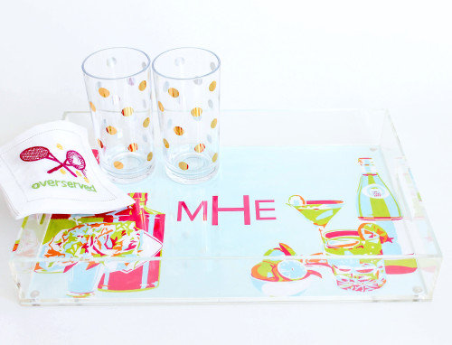 design darling bar cart lucite tray