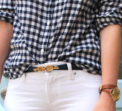 navy and gold tennis belt