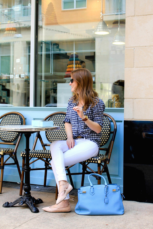 navy and white gingham shirt with white jeans