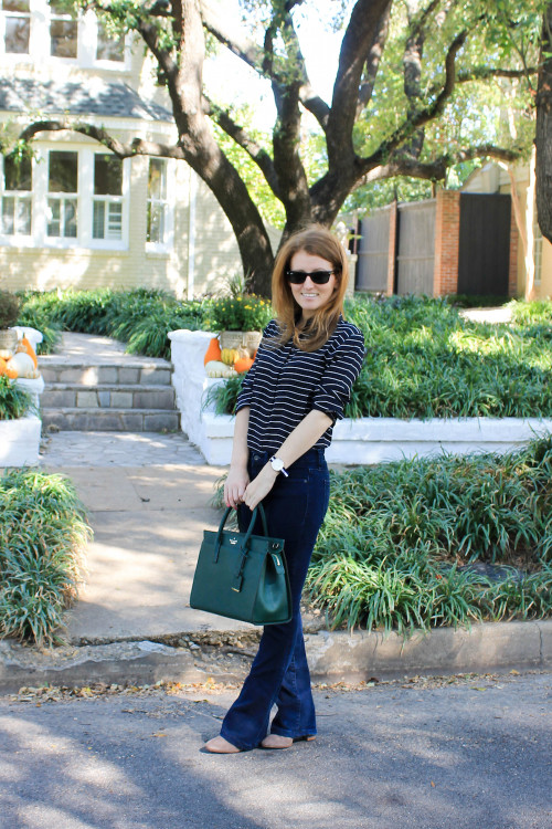 flared jeans and ankle boots