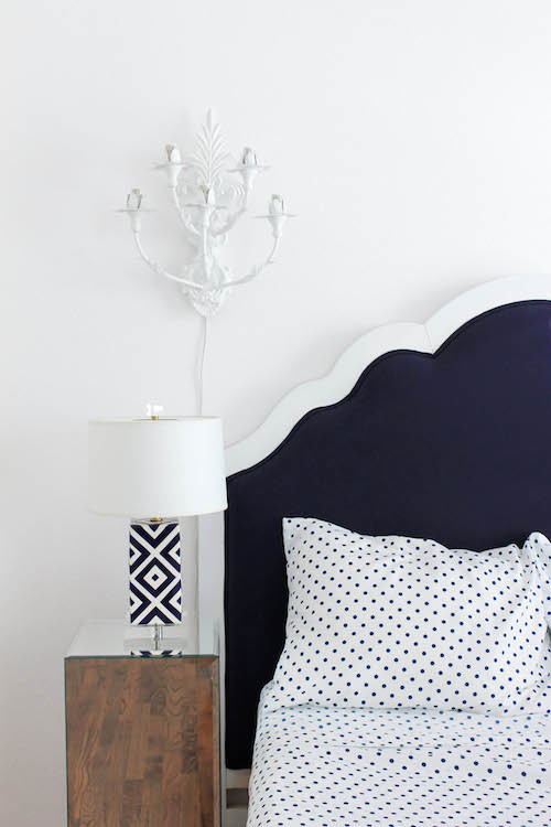 navy scalloped headboard