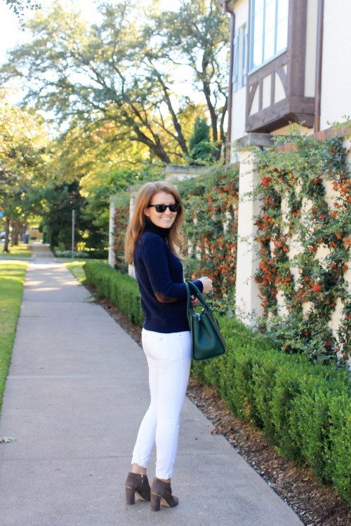 elbow patch sweater white jeans