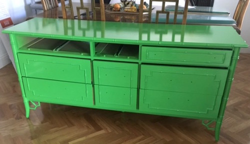 the ceh kelly green bamboo dresser