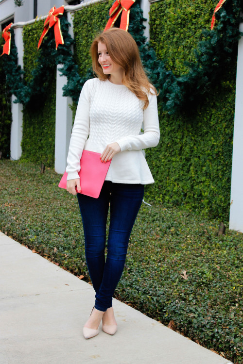 cable knit peplum sweater