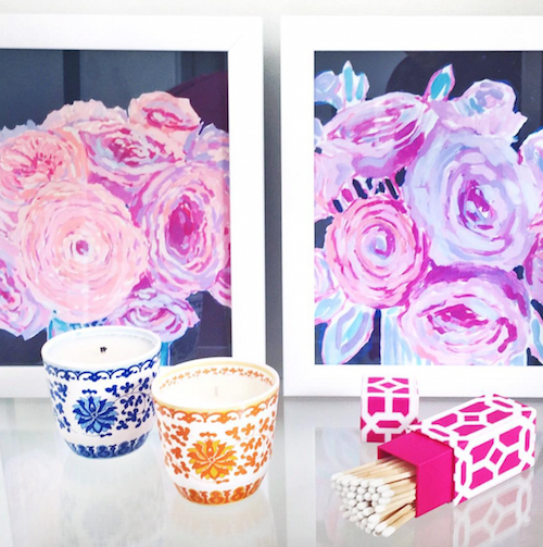 design darling floral prints shanghai lotus candles matches