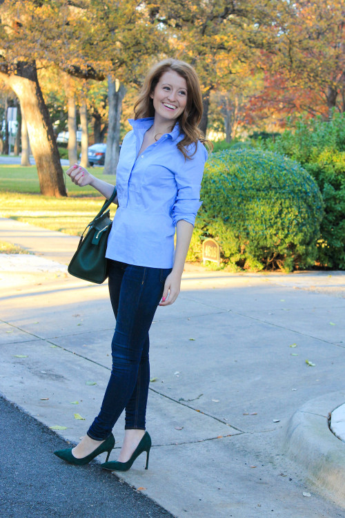 oxford shirt skinny jeans pointed toe heels