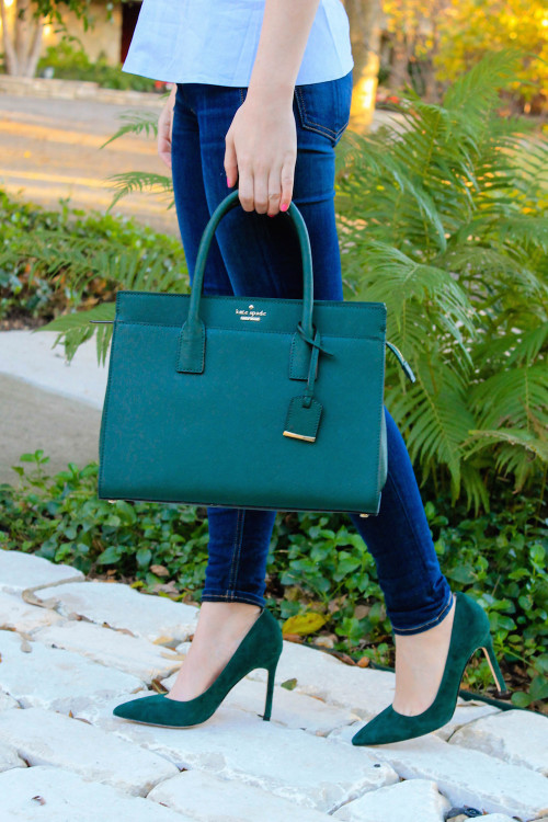 pine green bag and shoes